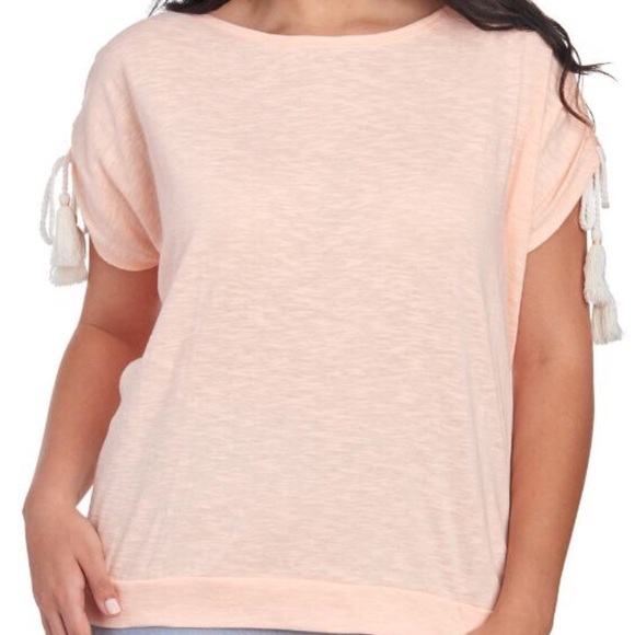 Sportelle Tops - Plus Peach Drawstring Tassel Sleeve Tee